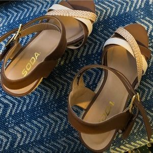 Soda Shoes - Soda Brown and Tan Strappy Wedges